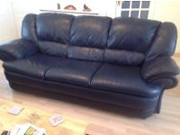 Three seat and two seat navy leather sofa's