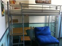 High Sleeper Bed, metal frame, with mattress, separate futon, desk and chair