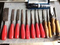 Set of Chisels and wood plane and drill bits