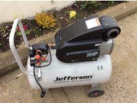 Jefferson 2hp electric air compressor. 50 litre 230 v . Excellent condition