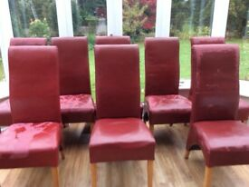 Dining room chairs, deep red x 8