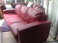 red faux leather 3 seater settee