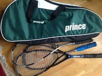 PRINCE Squash/Tennis Racquet Bag and 3 squash racquets