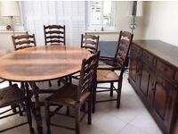 Titchmarsh & Goodwin solid oak table, 6 chairs & sideboard