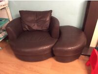 Brown leather love seat ,sofa and footstall
