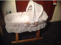 Moses basket on stand , as new condition.