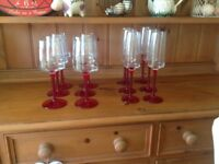 Wine glasses and champagne flutes, 6 of each