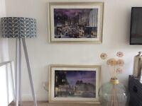 2 large framed prints by John M Boyd. Rush Hour on Leith Walk and Bristo Street in 1950's