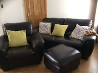 Brown Leather 3 seater sofa chair and storage stool in good condition