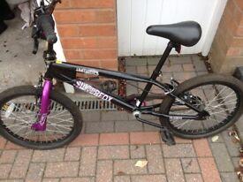Silverfox Limitless BMX bike, black and purple, fantastic condition. 20 inch wheels