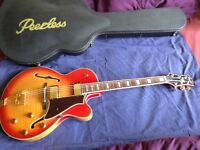 Peerless Sunset 2014 slimline jazz hollow-body as new with Peerless deluxe case £525, buyer collects
