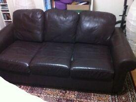 Ikea brown leather 3 seater sofa