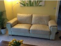**FREE,FREE**CREAM LEATHER SETTEE (pick up only asap)