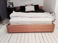 Light timber king size bed with mattress