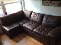 SofaBed corner combination with inbuilt storage - Faux Leather (Dark Brown)
