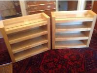 Pair of wood & glass shelving units