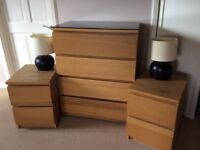 Bedroom Set. 4 Dr Chest of Drawers, 2 Bedside Tables and 2 lamps. £90