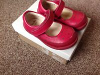 Baby red shoes, CLARKS in original box, size 3 1/2 G, ideal first shoes