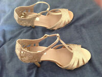 Gold sandals. 3 inch heel. Size 5.