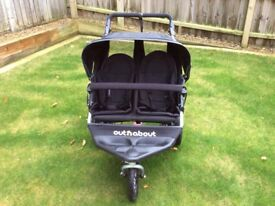 Out & About double buggy black V3 very good condition.