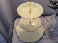 Windsor Bone China 3 Tier Cake Stand Lemon and Gold.