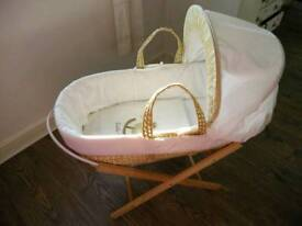 Moses basket and folding stand (used once)