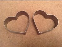 Two Metal Heart Shaped Food Cutters