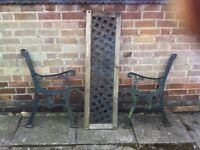 Decorative Cast Iron Garden Bench Ends with Decorative Back Panel