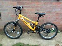 Bike for 7-10yr, orange Stomp, good condition.