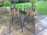 Six metal garden chairs