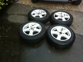 Peugot 206 Set Of 14 Inch Alloy Wheels X 3 With Good Tyres will fit other cars