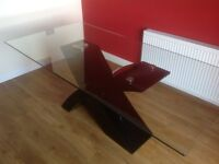 Glass Top Dining Table & 8 chairs with black gloss leg