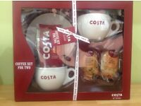 COSTA COFFEE SET FOR TWO incl CUPS, COFFEE 2 packs of biscuits