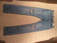 "TopMan Stretch Skinny Pale Blue Ripped Jeans Waist 32"" Length 34"""