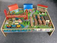 Wooden Train Table and Accessories