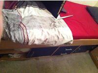 German Quality Single Cabin Bed beech + 2 Door Robe cream colour