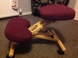Wooden Kneeling chair, Designed to improve posture. Like new!!