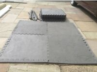 Exercise floor protection mats - sixteen 600 X 600mm interconnecting mats plus edging. £20