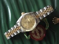 GENUINE ROLEX LADYS BI METAL OYSTER DATE PERPETUAL SERVICED WITH 2 YRS WARRANTY STEEL/18K GOLD 69160