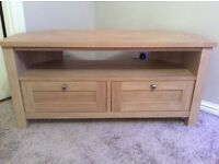 Oak corner t v unit from Next . Under a year old £100 was £199