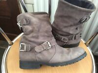 Next size 3 UK grey leather boots excellent condition