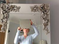 Huge stunning ornate silver mirror, large, heavy, beautiful