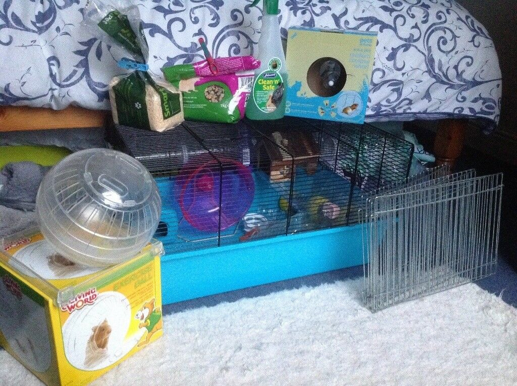 Hamster cage with accessories .