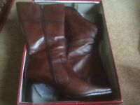 Ladies brown leather mid high boots