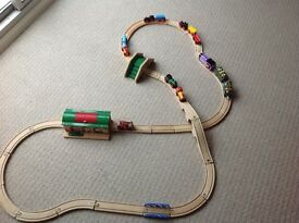 Wooden Train tracks plus trains