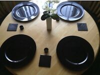 Charger plate, coaster & napkin ring set, brand new
