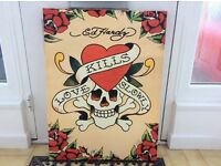ED HARDY large wooden frame canvas style print. 80cm by 60cm.