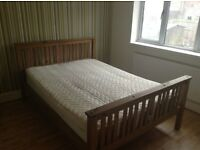 Wooden bed frame and mattress (double)