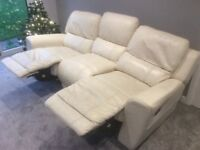3 seater sofa fully reclining. Cream leather. Good condition.