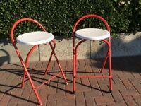 2 folding high bar stools